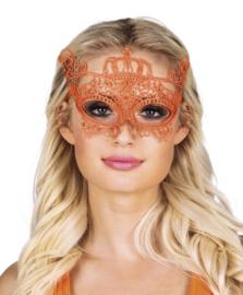 Oogmasker oranje kant