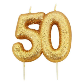 Nummerkaars glitter goud '50'