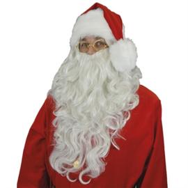 Kerstman baard en pruik lang easy