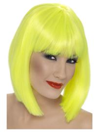 Pruik glamour Neon geel