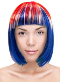 Pruik bobline Rood, wit en blauw