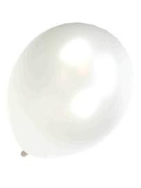 Kwaliteitsballon metallic pearl/wit 100 stuks