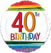 Folieballon rainbow '40' (43cm)