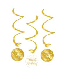 Swirl decorations goud/wit - 40