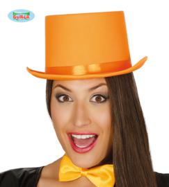 Hoge hoed satijn oranje