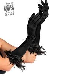 Zwarte handschoenen met veren