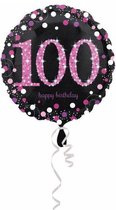 Folieballon HBD sparkling pink 100(45cm)