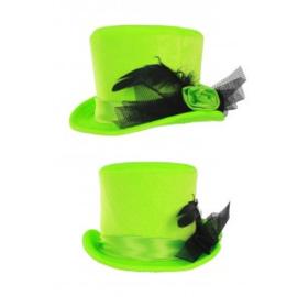 Mini hoge hoed dames met roos fluor groen