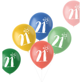 Retro ballonnen 21 jaar   33cm / 6 stuks