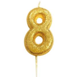 Nummerkaars glitter goud '8'