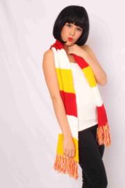 Sjaal gebreid rood, wit en geel