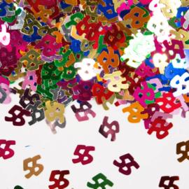 Tafeldecoratie / sier confetti 55 jaar