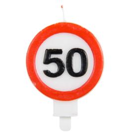 Kaarsjes 50 jaar verkeersbord