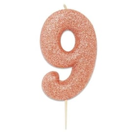 Nummerkaars glitter rosegoud '9'
