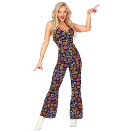 Disco 70's jumpsuit vrouw flower