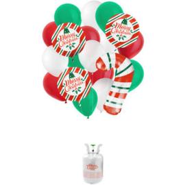 Helium tank Balloongaz 30 'Christmas' met Ballonnen en Lint
