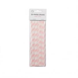 20  Papieren rietjes 6mm x 197mm striped baby pink