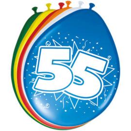 Ballonnen 55 jaar (assorti kleuren)