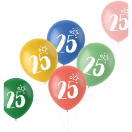 Retro ballonnen 25 jaar   33cm / 6 stuks
