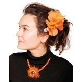 Haarbloem oranje/groen  luxe