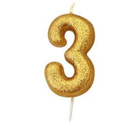 Nummerkaars glitter goud '3'