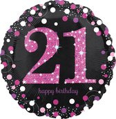 Folieballon HBD sparkling pink 21 (45cm)
