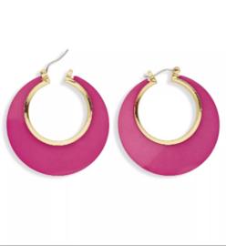 Disco oorbellen rose/goud