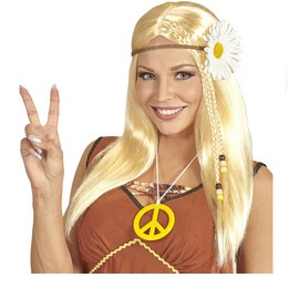 Pruik hippie blond bloemenkrans
