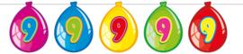 Vlaggenlijn ballonnen 9 jaar