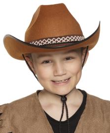 Kinder cowboy hoed bruin