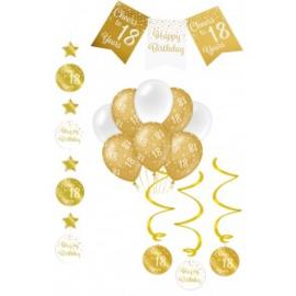Verjaardag Feestpakket 4 delig goud   18 jaar