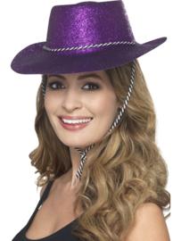 Cowboy glitter hoed paars