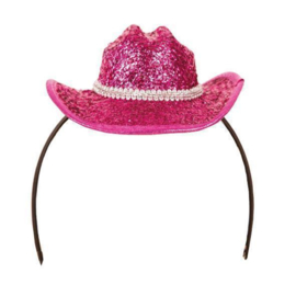 Cowgirl glitter minihoedje pink