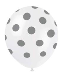 Ballonnen dots zilver wit