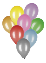 Ballonnen metallic - assorti kleuren - 8 stuks