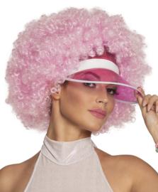 Afro pruik pink zonneklep