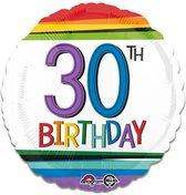 Folieballon rainbow '30' (43cm)