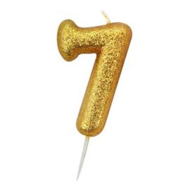 Nummerkaars glitter goud '7'