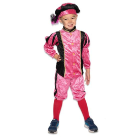 Kinder pieten pakje velours zwart roze