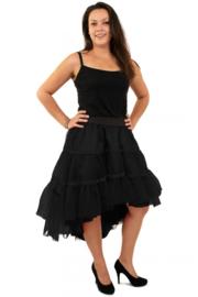 Petticoat schuin aflopend 3 laags zwart