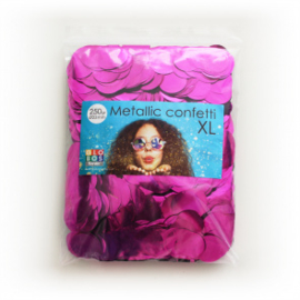 Confetti metallic rond 23mm 250 gram hotpink