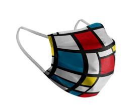 Mondkapje Mondriaan | kubus print | wasbaar