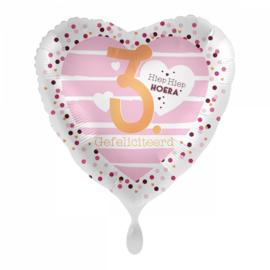 Folie ballon 3 jaar roze | 43cm