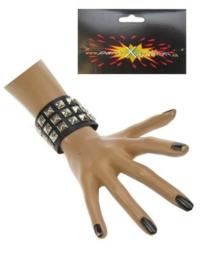 Punk armband zwart 3 rijen studs