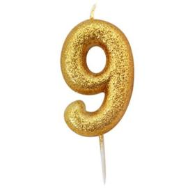 Nummerkaars glitter goud '9'