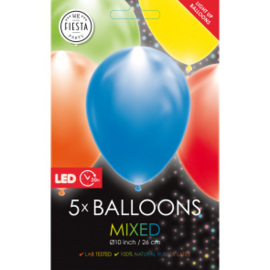 5 LED balloons multicolor