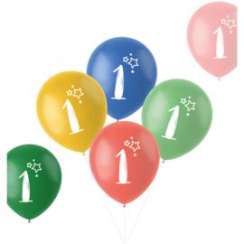 Retro ballonnen 1 jaar   33cm / 6 stuks