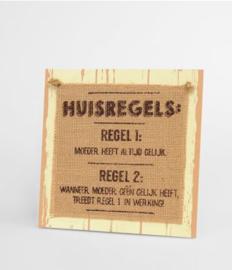 Wooden sign - Huisregels |
