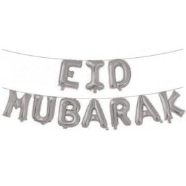 Folieballonnenset 'Eid Mubarak' zilver  | Ramadan