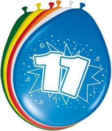 Ballonnen 11 jaar (assorti kleuren)
